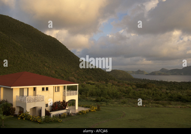 West Indies Nevis The Narrows Mt. Nevis Hotel grounds St. Kitts Southeast Peninsula view scenic - Stock Image