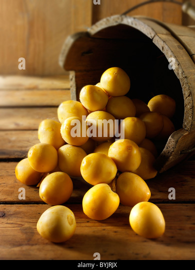 Fresh whole picked palm dates against a wooden background - Stock-Bilder