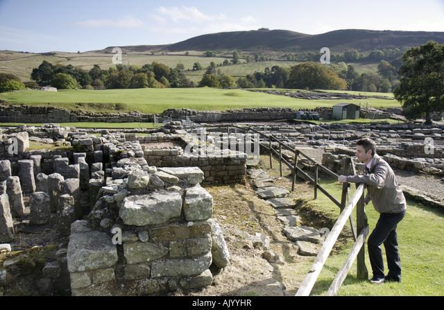 England UK Bardon Mill Hadrians Hadrian's Wall Vindolanda Roman Fort and Museum 3rd Third century civilian settlement - Stock Image