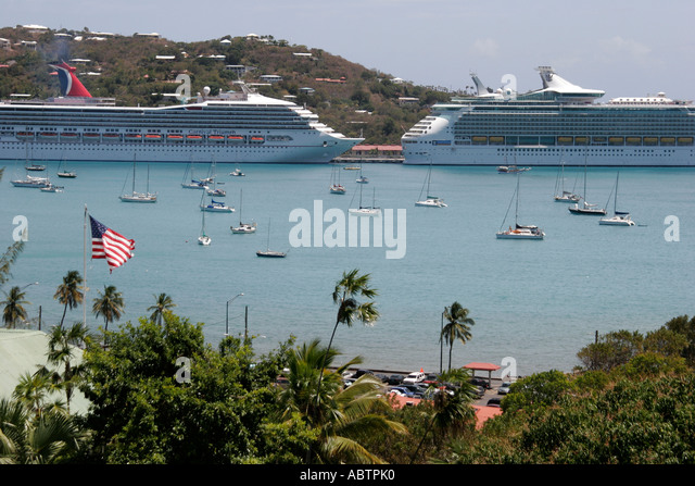 St. Thomas USVI Charlotte Amalie Harbor view from Blackbeard's Hill 99 Steps cruise ships - Stock Image