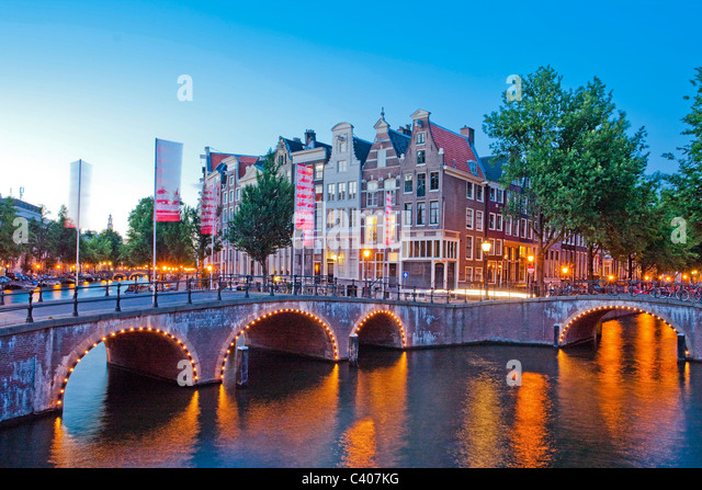 Holland, Netherlands, Europe, Amsterdam, Keizergracht, canal, channel, bridge, in, evening - Stock Image