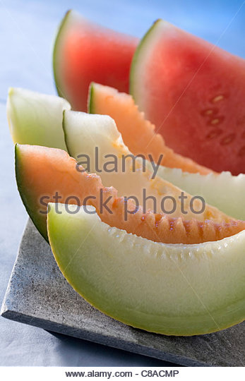 Slices of melon and watermelon - Stock Image