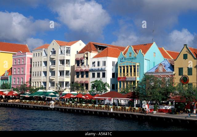 Curacao Willemstad harbor scenic Punda side national symbol iconic image blue sky background - Stock Image
