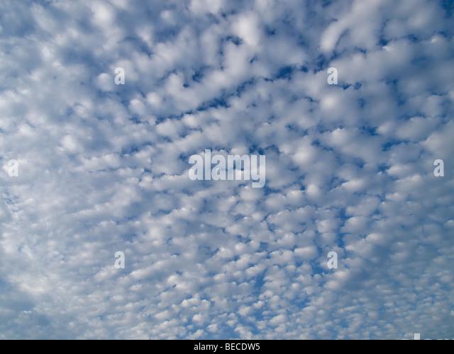 Little cumulus clouds Les Pieux, Normandy, France - Stock Image