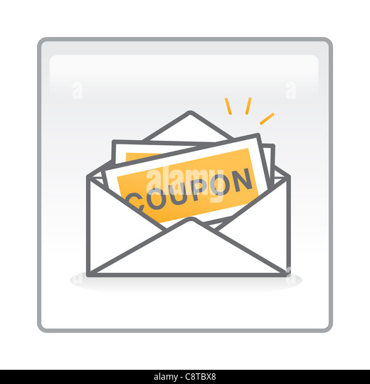 Illustration of coupons in an envelope - Stock Image