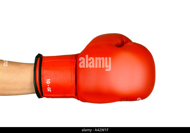 Red boxing glove on white background Roter Boxhandschuh auf weiss Freisteller - Stock Image