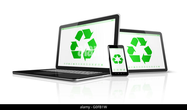 Electronic devices with a recycling symbol on screen. environmental conservation concept - Stock Image