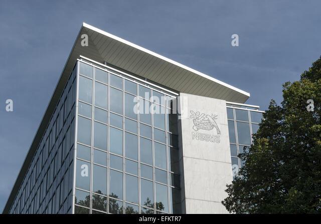 Nestle Headquarter in Vevey, Lake Geneva, Switzerland - Stock Image