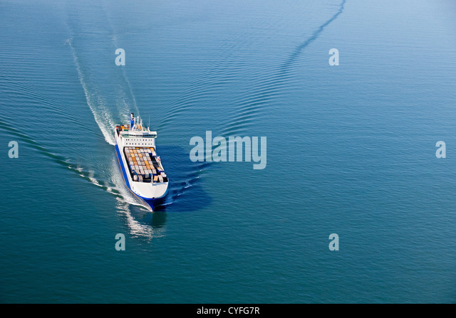 The Netherlands, Westkapelle. Westerschelde river. Cargo roll-on, roll-off ship. Aerial. - Stock Image