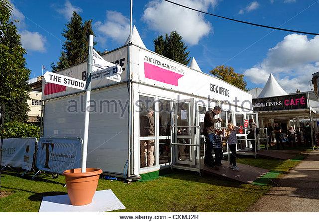 Literature festival in Cheltenham, UK. Box office for the Literary Festival. - Stock Image