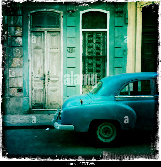 Classic American car, Havana, Cuba, West Indies, Caribbean, Central America - Stock Image