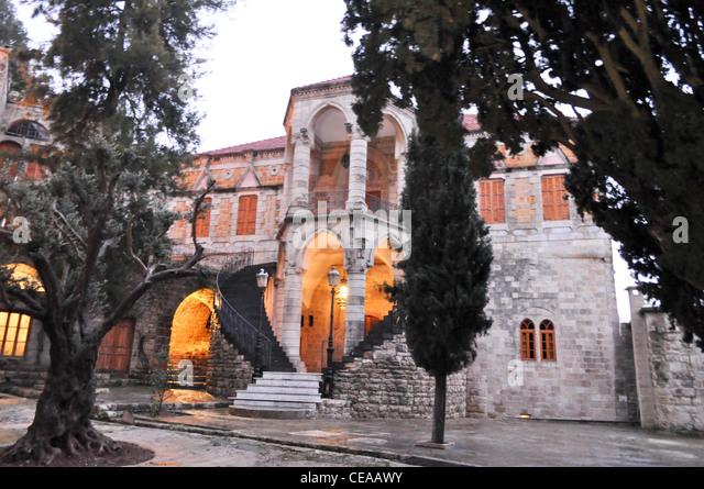 The druze leader Walid Jumblatt house (manoir) in Moukhtara, Lebanon - Stock Image