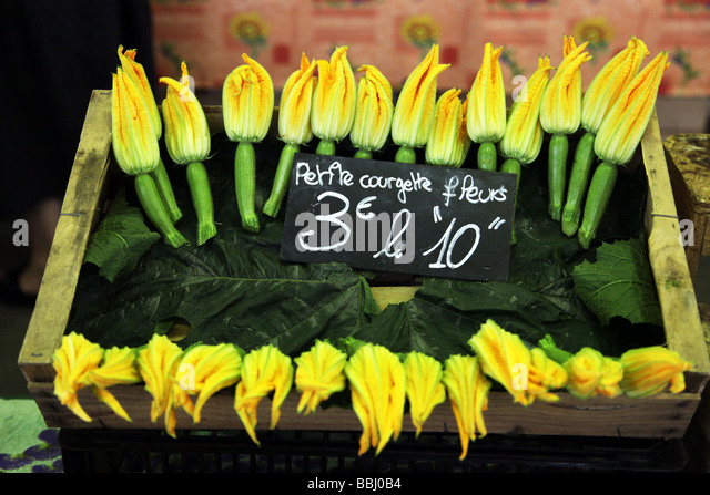 Courgette flowers for sale Antibes Market Cote d Azur France - Stock Image