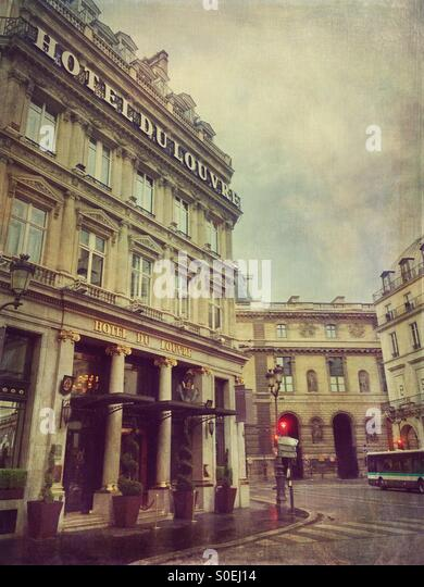 View of Hotel du Louvre, a Hyatt 5 star hotel located in the historic centre of Paris, France. Antique, retro look - Stock Image