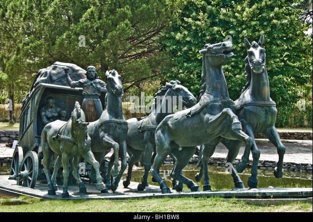 Statue honoring the cattlemen who founded Uruguay, Montevideo, Uruguay - Stock Image