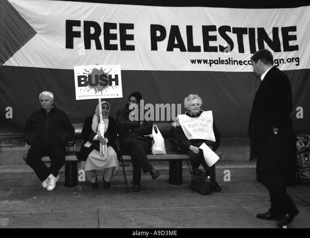 Free Palestine Anti Iraq War Demonstration in Trafalgar Square London England United Kingdom Europe - Stock Image