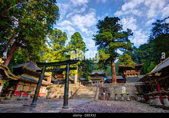 Toshogu Shrine grounds in Nikko, Japan, sight of the tomb of the last Shogunate Tokugawa Ieyasu. - Stock-Bilder