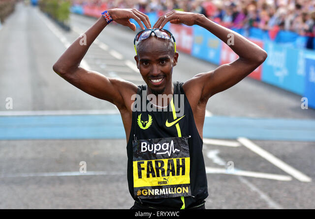 Mo Farah after winning the 2014 northeast,s Great North Run - Stock Image
