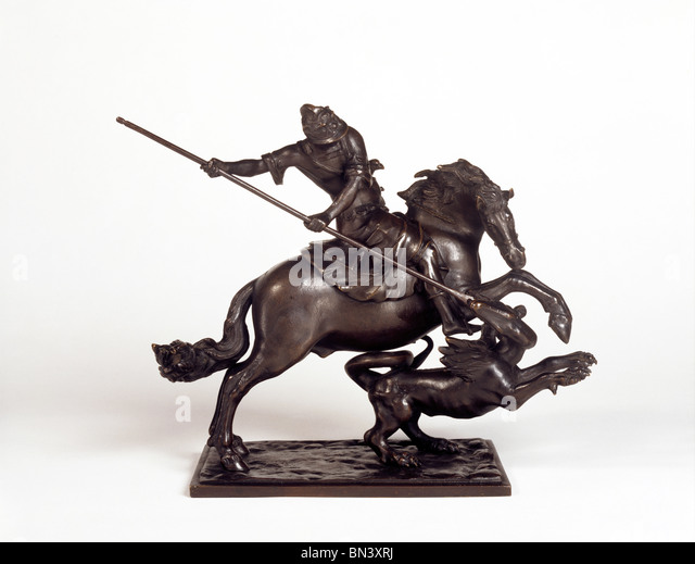 St. George & the Dragon statuette, made by Francesco Fanelli. London, England, early 17th century - Stock Image