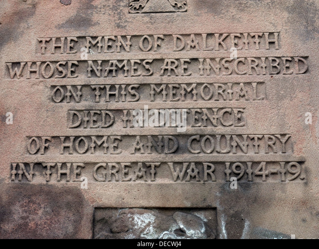 Inscriptions on Dalkeith War memorial 1914-19, Midlothian,Scotland,UK - Stock Image