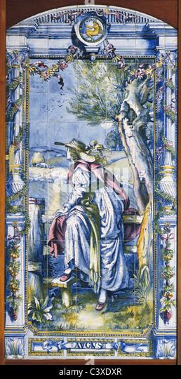 August tile panel, by Sir Edward Poynter. Britain, 1866 - Stock-Bilder