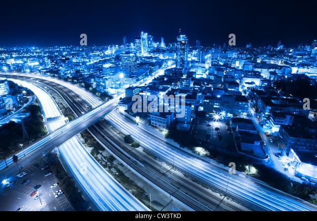 Aerial View Of Tel Aviv At Night - Tel Aviv Cityscape - Stock Image
