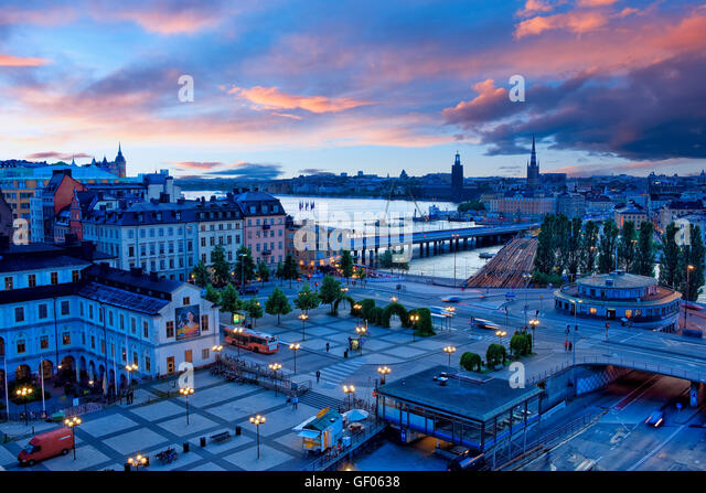 Overview of Gamla stan in Stockholm - Stock Image