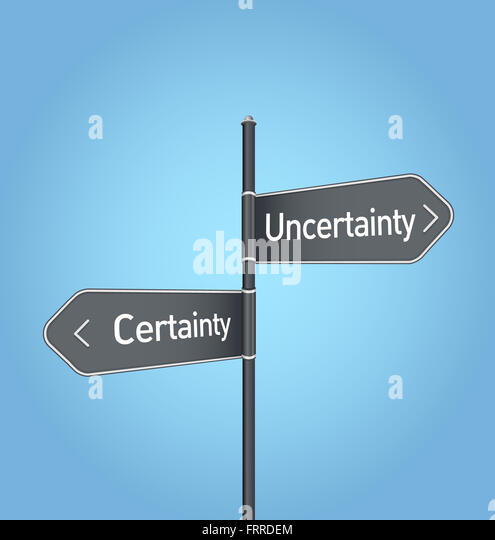 Uncertainty vs certainty choice concept road sign on blue background - Stock Image