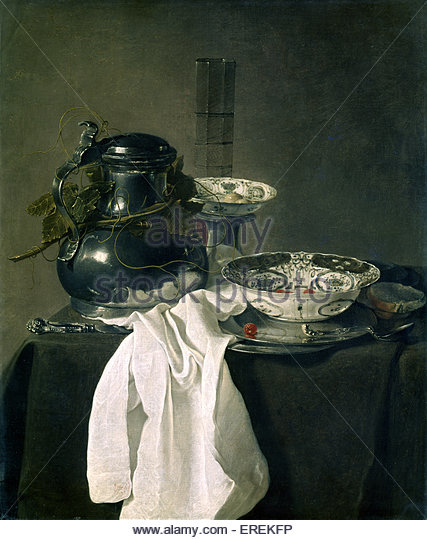 Still life with Pewter Flagon & Two Ming Bowls by Jan Treck, Dutch painter (1605/6 - 1652). 1651, oil on canvas, - Stock Image