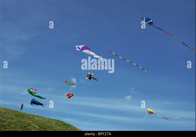 kites flying - Stock Image
