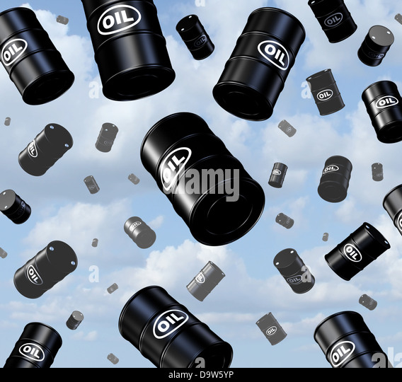 Falling oil prices with a group of three dimensional crude barrels and drum containers as they fall from the sky - Stock Image
