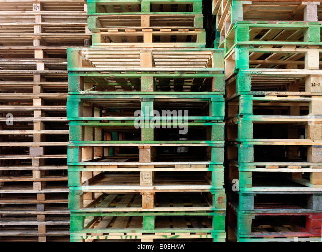 stack of empty pallets - Stock Image