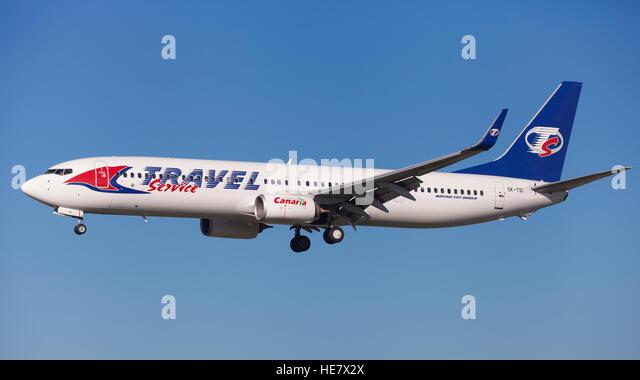Travel Service Boeing 737-900ER approaching to El Prat Airport in Barcelona, Spain. - Stock-Bilder
