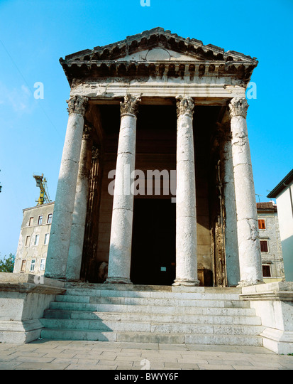 Ancient world antiquity Augustus temple building historical Istria Croatia Roman Roman town city Pula te - Stock Image