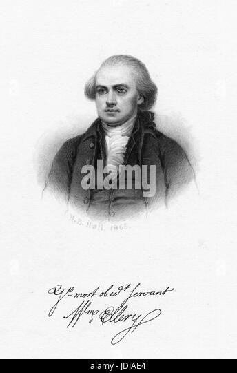 Engraved portrait of William Ellery, lawyer and signer of the Declaration of Independence, 1868. From the New York - Stock Image
