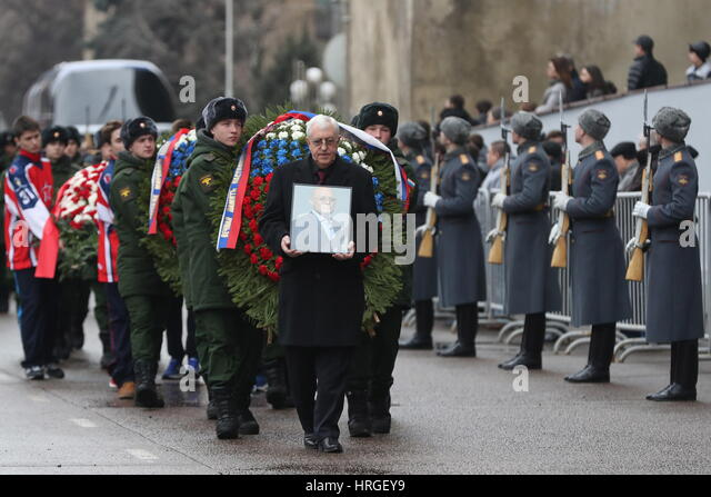 Moscow, Russia. 2nd Mar, 2017. IIHF coaching committee member Boris Mikhailov (front) after a mourning ceremony - Stock Image