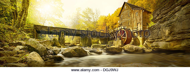 A view toward a grist mill at Babcock State Park in West Virginia. - Stock Image