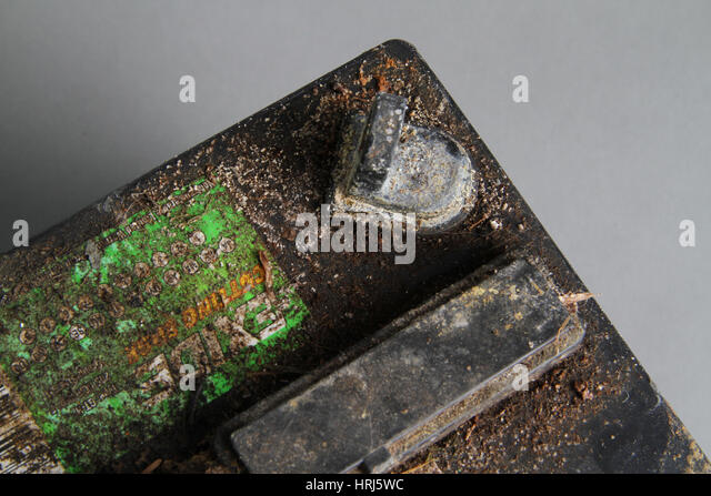 Corroded automotive battery - Stock Image