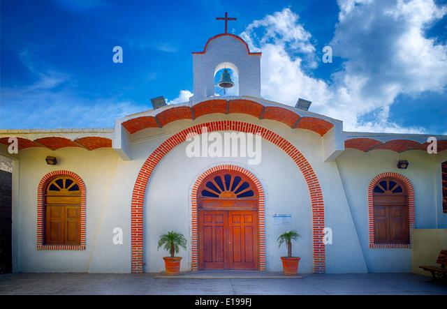 Church in Sayulita, Mexico. Cuasiparroquia de Nuestra Senora de Guadalupe - Stock Image