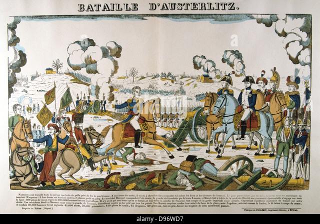 Napoleon at the Battle of Austerlitz (Bitva u Slavkova) also known as the Battle of the Three Emperors, l December - Stock Image