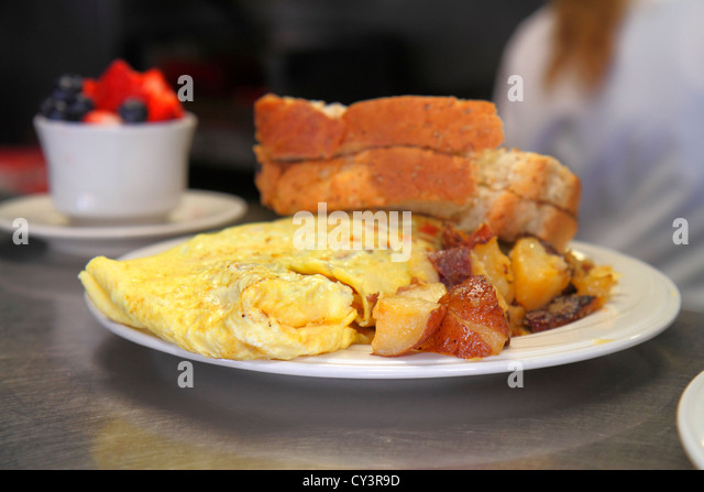 Rhode Island Newport Thames Street Ocean Breeze Cafe restaurant food plate egg toast fruit cup - Stock Image