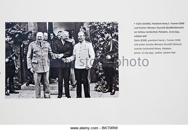 Winston Churchill,Harry Truman,Iosif Stalin,castle of Cecilienhof,Potsdam Conference of 1945,Checkpoint Charlie,Berlin,Germany - Stock Image