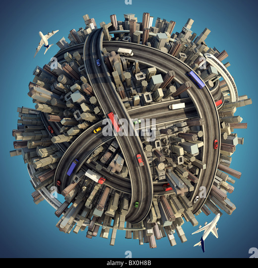 Miniature planet as concept for chaotic urban life isolated with clipping path - Stock-Bilder