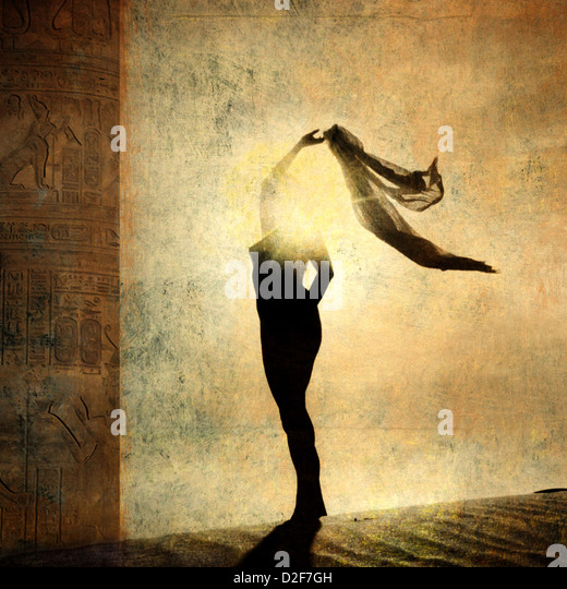 Silhouette of an illuminated woman. Photo based illustration. - Stock Image