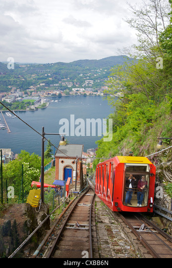View of the city of Como from Como-Brunate funicular, Lake Como, Lombardy, Italian Lakes, Italy, Europe - Stock Image