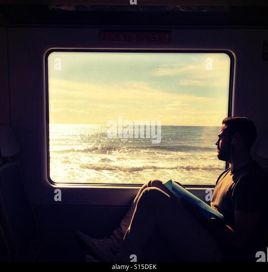 Coastal train ride, north of Barcelona. - Stock-Bilder