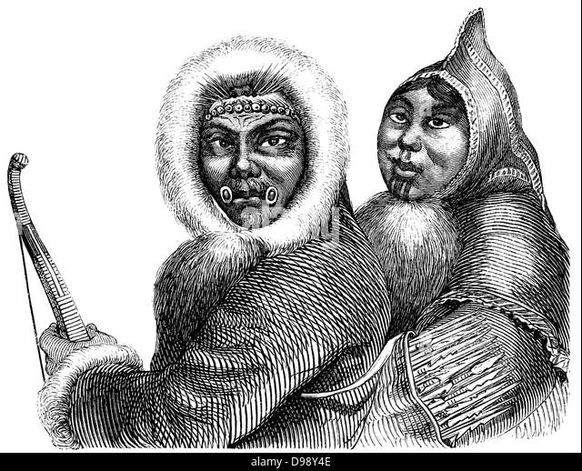 Inuit people, people picture from the 19th Century, 1864, Germany, Europe - Stock-Bilder