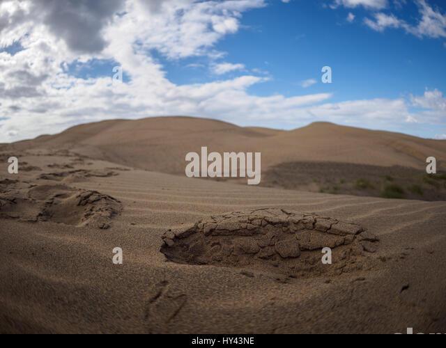 Scenic View Of Desert Against Blue Sky - Stock Image