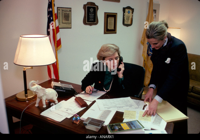 New Jersey Ridgewood Congresswoman Marge Roukema office assistant elected official politician Republican - Stock Image