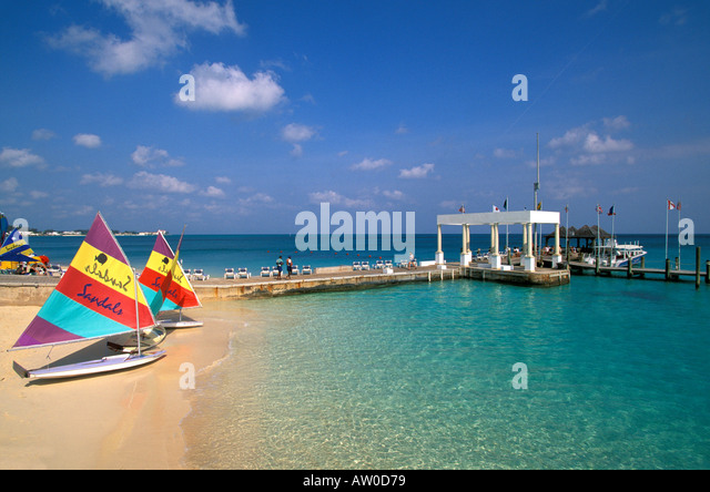 Cable Beach Bahamas beach sailboats water Bahamas Sandals Royal Bahamian Resort Spa nassau - Stock Image
